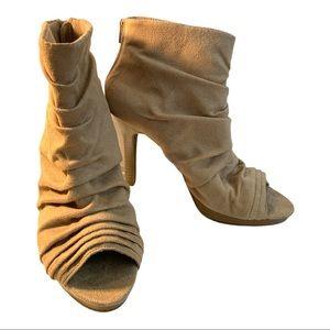 Fioni Faux Suede Open Toe High Heel Zip Ankle Shoe